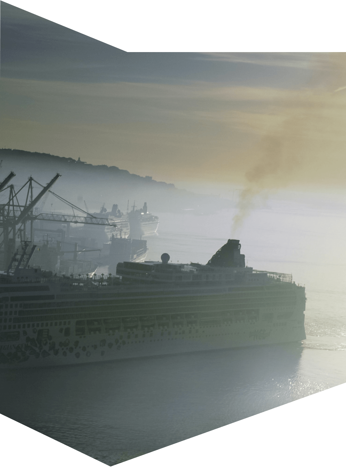 Polluting cruise ship in harbour